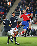 Darren Dods heads clear from Kyle Lafferty in the Falkirk box
