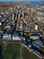 aerial photograph of the soccer field over the McTavish Reservoir, McTavish pumping station at right toward the Olympic Stadium, Montreal, Quebec, Canada