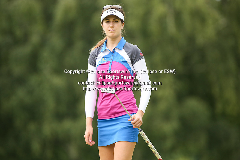Sandra Gal reacts after missing her putt on the 10th green at the LPGA Championship 2014 Sponsored By Wegmans at Monroe Golf Club in Pittsford, New York on August 16, 2014