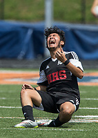 NWA Democrat-Gazette/BEN GOFF @NWABENGOFF<br /> Luis Mendez of Fort Smith Northside celebrates at the buzzer after defeating Springdale 2-1 Saturday, May 12, 2018 during the semifinal match in the boys 7A state soccer tournament in Gates Stadium at Rogers Heritage.