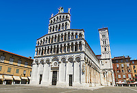 13th century facade and campinale of the San Michele in Foro is a Roman Catholic basilica church in Lucca, Tunscany, Italy