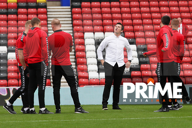 Fleetwood Town manager Joey Barton on the pitch with his players before the Sky Bet League 1 match between Sunderland and Fleetwood Town at the Stadium Of Light, Sunderland, England on 8 September 2018. Photo by Stephen Hadlow/MI News & Sport/PRiME Media Images.