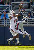 Hawgs Illustrated/BEN GOFF <br /> Kamren Curl (2), Arkansas defensive back, breaks up a pass intended for DaMarkus Lodge, Ole Miss wide receiver, in the third quarter Saturday, Oct. 28, 2017, at Vaught-Hemingway Stadium in Oxford, Miss.