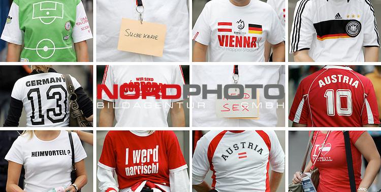 UEFA Euro 2008 Group B Match 20 Wien - Ernst-Happel-Stadion. &Ouml;sterreich ( AUT ) - Deutschland ( GER ). <br /> Bildkombo: Fans mit verschiedenen T-Shirts und Trikots (&quot;Suche Karte&quot;, &quot;Need Sex&quot;, &quot;Vienna&quot;, &quot;Germany&quot;, &quot;Wir sind Cordoba&quot;, &quot;Austria&quot;,&quot;Heimvorteil?&quot;, &quot;I werd narrisch&quot; und &quot;I love football&quot;.<br /> Foto &copy; nph (  nordphoto  )