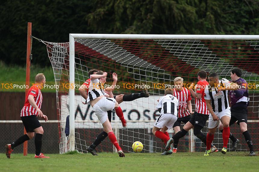 Jordan Palmer of Heybridge scores the opening goal during AFC Hornchurch vs Heybridge Swifts, Ryman League Divison 1 North Football at Hornchurch Stadium on 16th April 2016