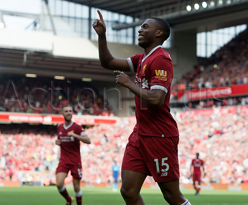 27th August 2017, Anfield, Liverpool, England; EPL Premier League football, Liverpool versus Arsenal; Daniel Sturridge  celebrates his goal in the 77th minute giving Liverpool a 4-0 lead