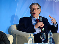 """Washington, DC - April 21, 2018: Microsoft founder Bill Gates participates in a panel discussion on """"Building Human Capital"""" at the World Bank Group in Washington, DC April 21, 2018, as part of the IMF/World bank Spring Meetings.  (Photo by Don Baxter/Media Images International)"""