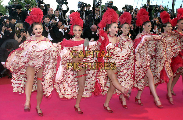 "CAN CAN DANCERS.Opening film: arrivals at ""Moulin Rouge"" screening.Cannes Film Festival, France,.9th May 2001..full length .Ref: PL.www.capitalpictures.com.sales@capitalpictures.com.©Capital Pictures."