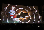 February 4, 2019, Sapporo, Japan - A projection mapping is cast on a large snow sculpture of character of Toyama Kasumi at the 70th annual Sapporo Snow Festival in Sapporo in Japan's nortern island of Hokkaido on Monday, February 4, 2019. The week-long snow festival started at the Odori Park in central Sapporo through February 11 and over 2.5 million people are expecting to visit the festival.   (Photo by Yoshio Tsunoda/AFLO) LWX -ytd-
