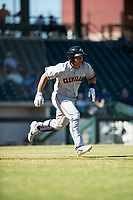 Glendale Desert Dogs designated hitter Li-Jen Chu (2), of the Cleveland Indians organization, runs to first base during an Arizona Fall League game against the Mesa Solar Sox at Sloan Park on October 27, 2018 in Mesa, Arizona. Glendale defeated Mesa 7-6. (Zachary Lucy/Four Seam Images)