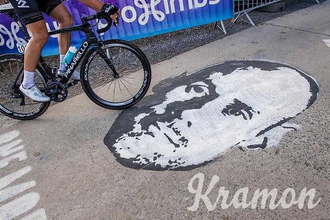 Tom Boonen (BEL/Quick-Step Floors) street art on top of the Paterberg - Luke Rowe (GBR/SKY) shaving by<br /> <br /> 101th Ronde Van Vlaanderen 2017 (1.UWT)<br /> 1day race: Antwerp &rsaquo; Oudenaarde - BEL (260km)