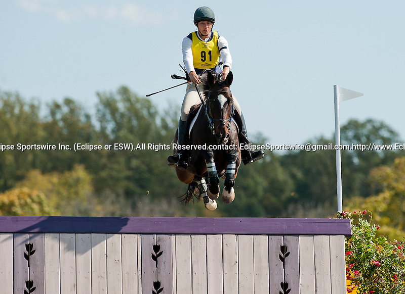 Rachel Jurgens competes aboard Ziggy in the CCI3* division during the Cross Country Test at the Dansko Fair Hill International 3-Day Event in Fair Hill, Maryland on October 15, 2011.