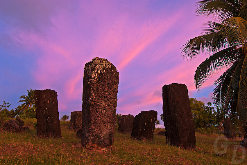 Archaeology - The ancient and mysterious Stone Monoliths in Palau at sunrise.