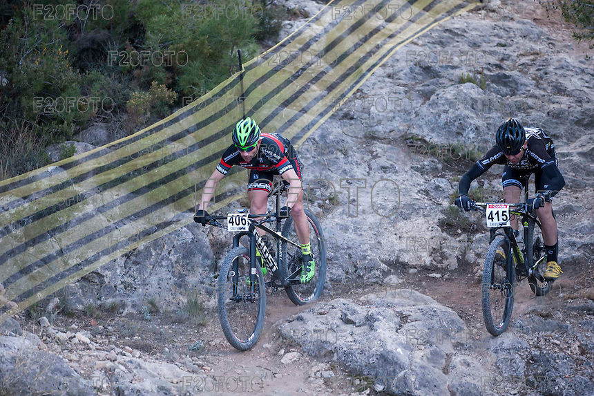 Chelva, SPAIN - MARCH 6: Juan Moya, Isaac Ruiz during Spanish Open BTT XCO on March 6, 2016 in Chelva, Spain