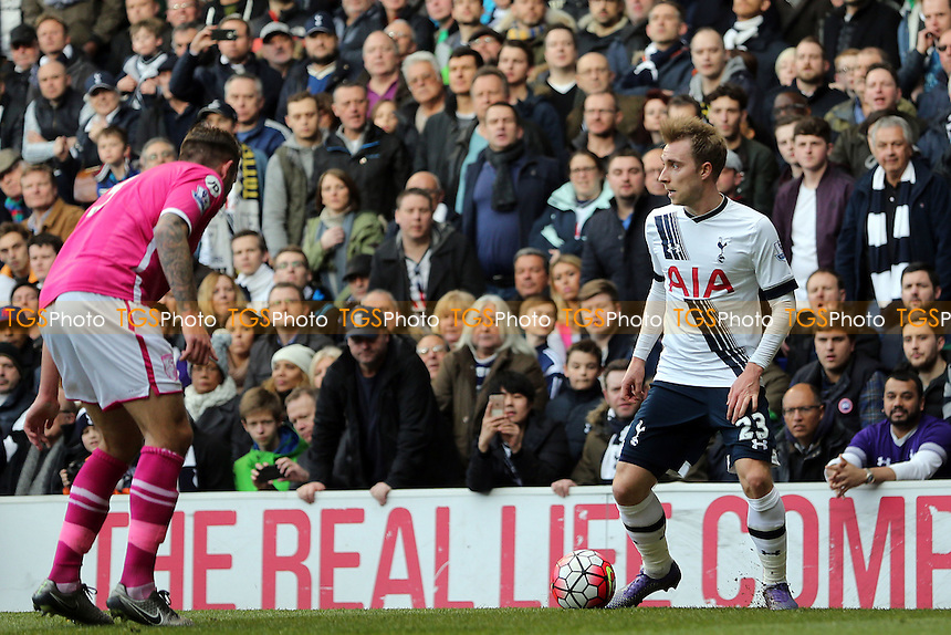 Steve Cook of Bournemouth and Christian Eriksen of Tottenham Hotspur during Tottenham Hotspur vs AFC Bournemouth, Barclays Premier League Football at White Hart Lane on 20th March 2016