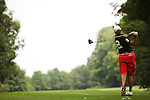 Angela Buzminski tees off on the 14th tee at Alliance Bank Golf Classic in Syrcause, NY.