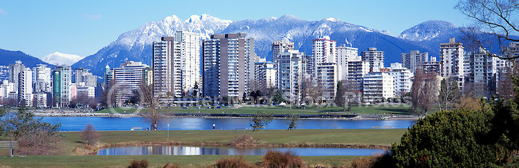"City of Vancouver Skyline and Downtown ""West End"" from Vanier Park, BC, British Columbia, Canada, in Spring.  The North Shore Mountains (Coast Mountains) rise above the City. - Panoramic View"