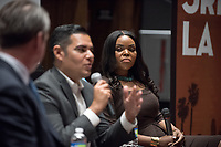 Occidental College hosts 3rd LA City on the Verge: Youth Movement; Mayors Aja Brown and Robert Garcia.<br /> Christopher Hawthorne talks with two of the youngest mayors in Southern California, Aja Brown, mayor of Compton since 2013, and Robert Garcia, mayor of Long Beach since 2014, who both represent a new generation of political leadership in the region. Wednesday, March 29, 2017 in Choi Auditorium.<br /> (Photo by Marc Campos, Occidental College Photographer)