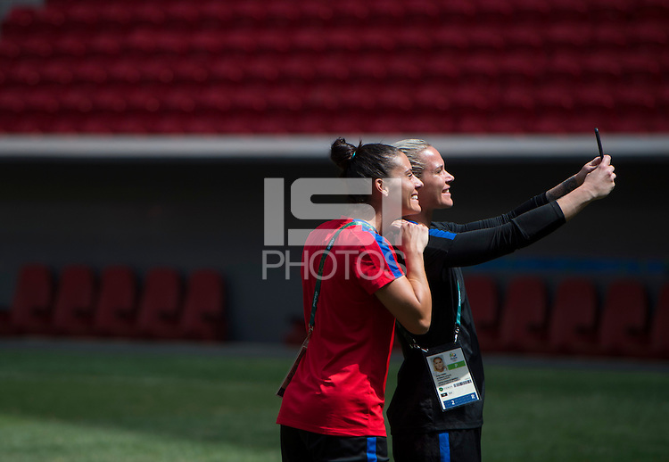 Brasilia, Brazil - August 11, 2016: The USWNT walks through the stadium in preparation for the quarterfinals of the 2016 Olympics at Mane Garrincha Stadium.