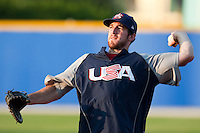 25 September 2009: Ike Davis of Team USA warms up prior to the 2009 Baseball World Cup final round match won 8-2 by Team USA over Netherlands, in Nettuno, Italy.