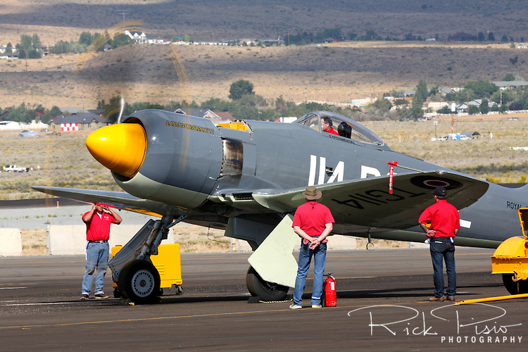 "Hawker Sea Fury ""Argounaut"" doing an engine run up during the 2011 Reno National Championship Air Races."