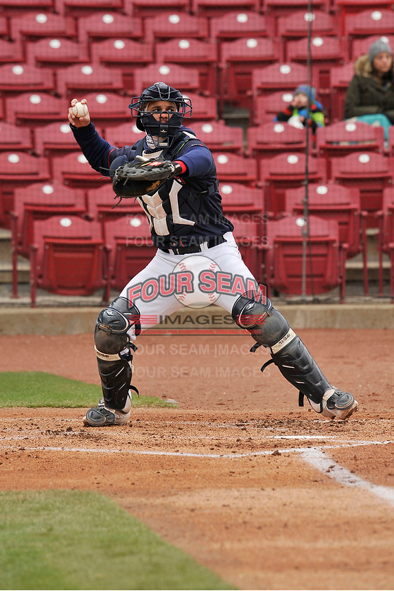 Cedar Rapids Kernels catcher Ben Rodriguez (23) in action against the Burlington Bees at Veterans Memorial Stadium on April 14, 2019 in Cedar Rapids, Iowa.  The Bees won 6-2.  (Dennis Hubbard/Four Seam Images)