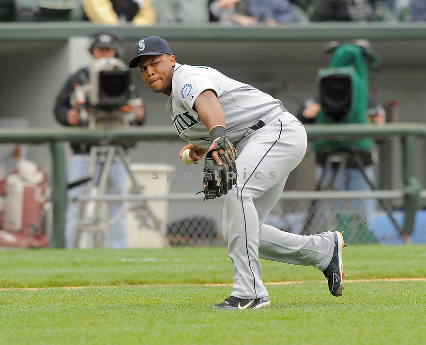 ADRIAN BELTRE, of the Seattle Mariners  , in action  during the Mariners  game against the Chicago White Sox on April 28, 2009 in Chicago, IL.  The White Sox beat  the Mariners  6-3  in Chicago,