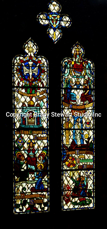 East Liberty section of Pittsburgh PA:  East Liberty Presbyterian Church Trinity Chapel - 1977. This image is included in the book; The Art and Architecture of the East Liberty Presbyterian Church.  This window along with 4 others was created Wilbur H. Burnham  The images represent the Apostles Creed in stained glass.