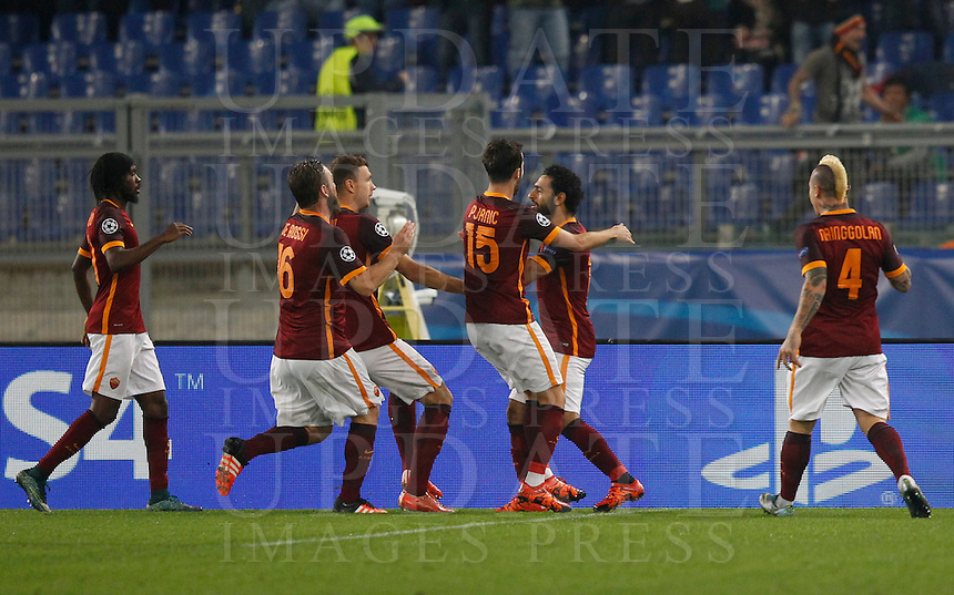 Calcio, Champions League, Gruppo E: Roma vs Bayer Leverkusen. Roma, stadio Olimpico, 4 novembre 2015.<br /> Roma's Mohamed Salah, second from right, celebrates with teammates after scoring during a Champions League, Group E football match between Roma and Bayer Leverkusen, at Rome's Olympic stadium, 4 November 2015.<br /> UPDATE IMAGES PRESS/Riccardo De Luca