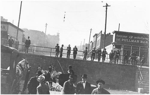 Street scene, perhaps from trackside.<br /> D&amp;RG  possibly Salida, CO  Taken by Mollette, Erskine (Rex)