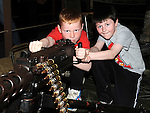 Jordan Deegan and Kyle Tully pictured at the war exhibition at Funtasia Drogheda. Photo: Colin Bell/pressphotos.ie