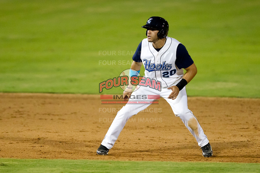 J.D. Martinez (20) of the Corpus Christi Hooks takes a lead off of second base during a game against the North All-Stars 2011 in the Texas League All-Star game at Nelson Wolff Stadium on June 29, 2011 in San Antonio, Texas. (David Welker / Four Seam Images)..