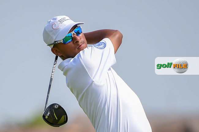 Ahmad BAIG (PAK) watches his tee shot on 18 during Rd 1 of the Asia-Pacific Amateur Championship, Sentosa Golf Club, Singapore. 10/4/2018.<br /> Picture: Golffile | Ken Murray<br /> <br /> <br /> All photo usage must carry mandatory copyright credit (© Golffile | Ken Murray)