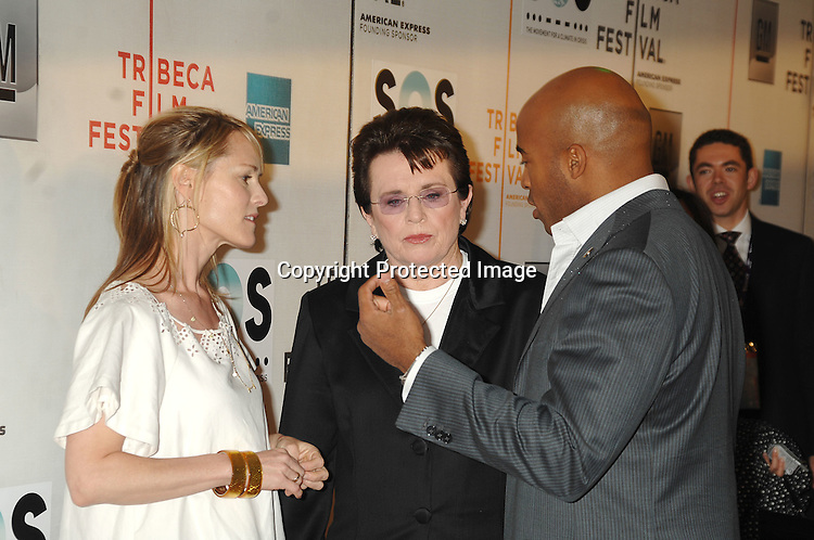 Mary Stuart Masterson, Billie Jean King andTiki Barber ..arriving to The Opening Night of The Tribeca Film Festival ..on April 25, 2007 at BMCC TribecaPac in New York City. ..Robin Platzer, Twin Images