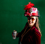 November 3, 2018 : A woman enjoys a beer on Breeders Cup World Championships Saturday at Churchill Downs on November 3, 2018 in Louisville, Kentucky. ///Eclipse Sportswire/CSM