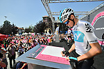 Chris Froome (GBR) Team Sky at sign on before the start of Stage 18 of the 2018 Giro d'Italia, running 196km from Abbiategrasso to Prato Nevoso, Italy. 24th May 2018.<br />