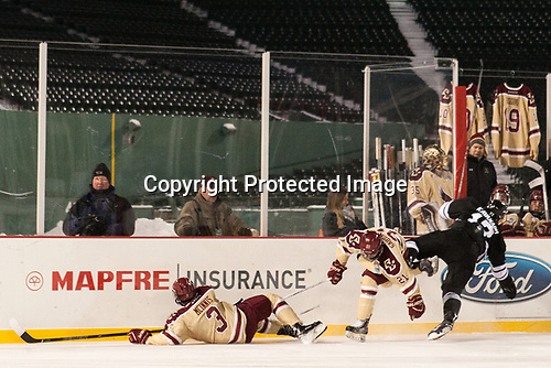 The Boston College bench hung BC sweaters with the names and numbers of Falmouth High School players James Lavin and Owen Higgins who were killed in a car accident in late December. - The Boston College Eagles defeated the Providence College Friars 3-1 (EN) on Sunday, January 8, 2017, at Fenway Park in Boston, Massachusetts.