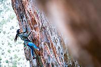 Daila Ojeda climbing Diet Dope 7b at the Elona wall, Leonido, Greece