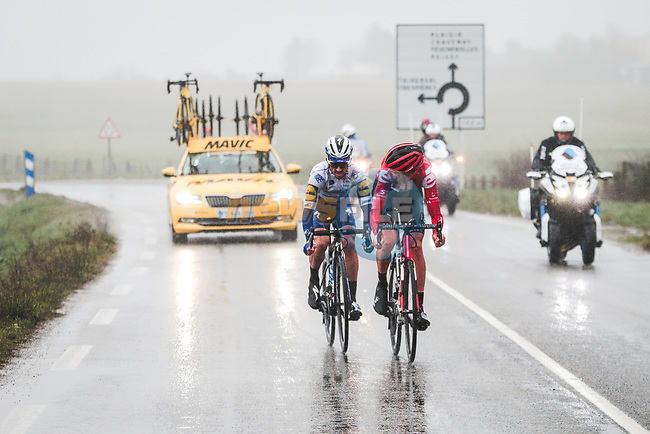 Julian Alaphilippe (FRA) Deceuninck-Quick Step and Tiesj Benoot (BEL) Team Sunweb attack during Stage 1 of the 78th edition of Paris-Nice 2020, running 154km from Plaisir to Plaisir, France. 8th March 2020.<br /> Picture: ASO/Fabien Boukla | Cyclefile<br /> All photos usage must carry mandatory copyright credit (© Cyclefile | ASO/Fabien Boukla)