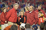 MADISON, WI - NOVEMBER 12: Pat Richter, from left, Donna Shalala and  head coach Barry Alvarez of the Wisconsin Badgers speak to the fans at a post game ceremony honoring Alvarez at Camp Randall Stadium on November 12, 2005 in Madison, Wisconsin. The Hawkeyes beat the Badgers 20-10. (Photo by David Stluka)
