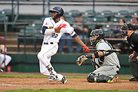 Burlington Bees center fielder Torii Hunter (22) swings at pitch against the Dayton Dragons at Community Field on May 2, 2018 in Burlington, Iowa.  (Dennis Hubbard/Four Seam Images)