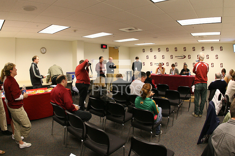 22 December 2007: The post game press conference during Stanford's 73-69 win over Tennessee at Maples Pavilion in Stanford, CA.