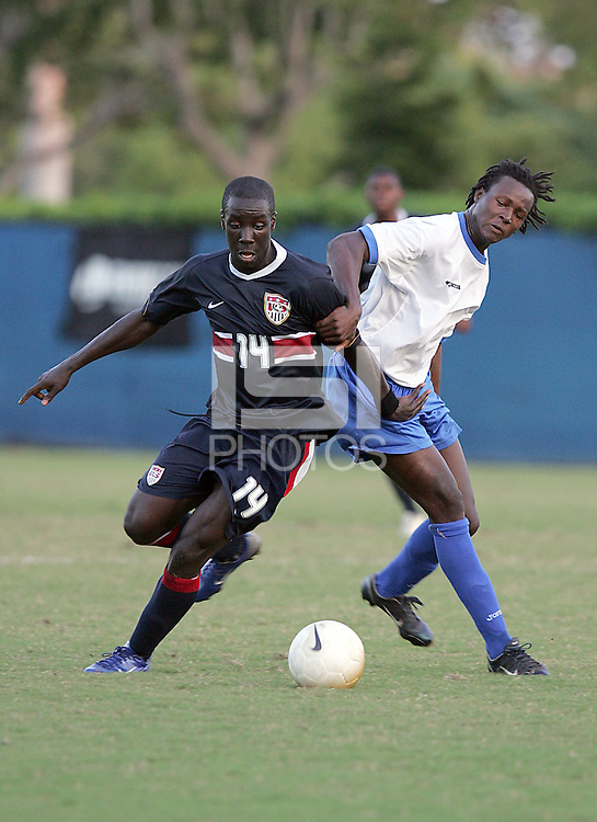 Johann Smith goes for a ball at the U.S. Under 20 Men's National Team Training Camp in Sunrise, FL, October 8-12 2006.