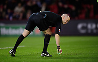 Referee Anthony Taylor picks up an item that appeared to have been thrown onto the pitch<br /> <br /> Photographer Chris Vaughan/CameraSport<br /> <br /> The EFL Sky Bet Championship - Sheffield United v Blackburn Rovers - Saturday 29th December 2018 - Bramall Lane - Sheffield<br /> <br /> World Copyright &copy; 2018 CameraSport. All rights reserved. 43 Linden Ave. Countesthorpe. Leicester. England. LE8 5PG - Tel: +44 (0) 116 277 4147 - admin@camerasport.com - www.camerasport.com