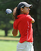 Natalia Schaefer of Smithtown East tees off on the 17th Hole of Bethpage State Park's Green Course during the varsity girls' golf Long Island team championship against Syosset on Wednesday, June 3, 2015.<br /> <br /> James Escher