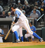 April 9, 2009: First baseman Freddie Freeman (12) of the Myrtle Beach Pelicans, Class A affiliate of the Atlanta Braves, hits on 2009 opening day at BB&T Coastal Field in Myrtle Beach, S.C. Photo by:  Tom Priddy/Four Seam Images