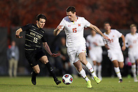 WINSTON-SALEM, NC - NOVEMBER 24: Eric Matzelevich #15 of the University of Maryland is challenged by Isaiah Parente #15 of Wake Forest University during a game between Maryland and Wake Forest at W. Dennie Spry Stadium on November 24, 2019 in Winston-Salem, North Carolina.