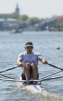 Brandenburg. GERMANY.<br /> FRA M1X. Cedric BERREST at the start of his heat. 2016 European Rowing Championships at the Regattastrecke Beetzsee<br /> <br /> Friday  06/05/2016<br /> <br /> [Mandatory Credit; Peter SPURRIER/Intersport-images]