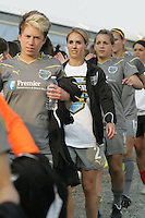 Philadelphia reserve players, including an injured Heather Mitts, enter the stadium for the inaugural match between the Philadelphia Independence and the Atlanta Beat.  Atlanta and Philadelphia played to a 0-0 draw in the season opener for both teams at John A Farrell Stadium in West Chester, PA.