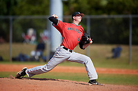 Ball State Cardinals relief pitcher Ty Weatherly (6) during a game against the Mount St. Mary's Mountaineers on March 9, 2019 at North Charlotte Regional Park in Port Charlotte, Florida.  Ball State defeated Mount St. Mary's 12-9.  (Mike Janes/Four Seam Images)